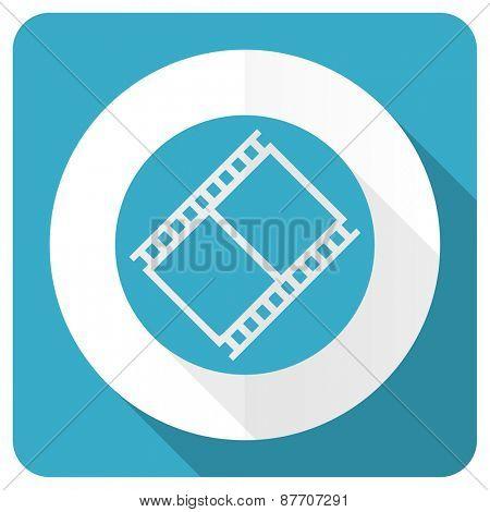film blue flat icon movie sign cinema symbol  poster