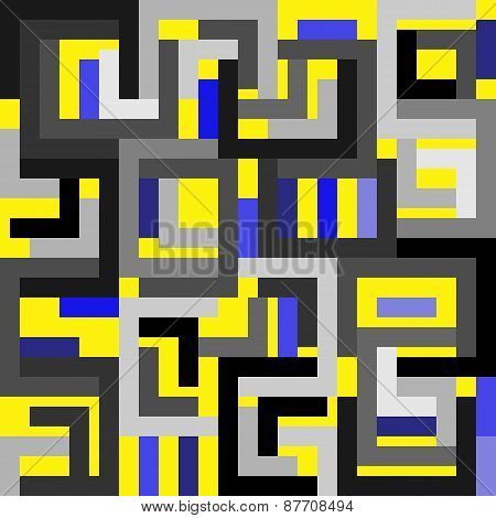Abstract yellow blue gray background in cubist style
