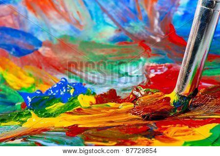 Mixing Acrylic Paints On Canvas Closeup
