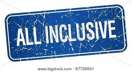 All Inclusive Blue Square Grunge Textured Isolated Stamp