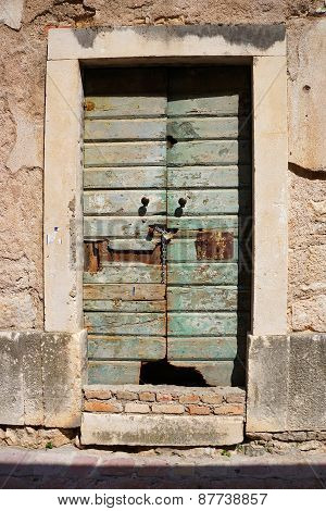 Old Timeworn Doors In Kotor, Montenegro.
