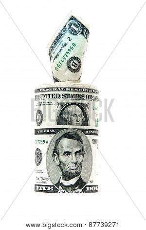 banknotes dollars on white background