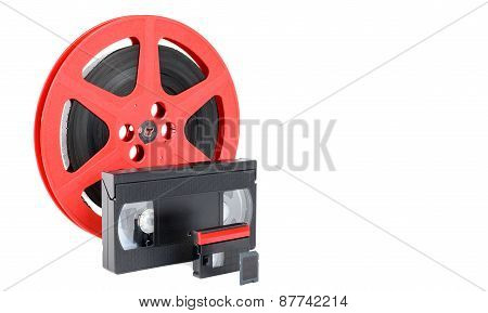 Old Reel Of Film, Video Tape And Memory Card
