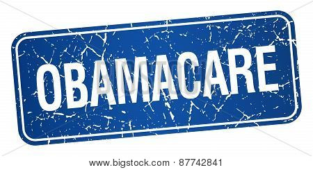 Obamacare Blue Square Grunge Textured Isolated Stamp