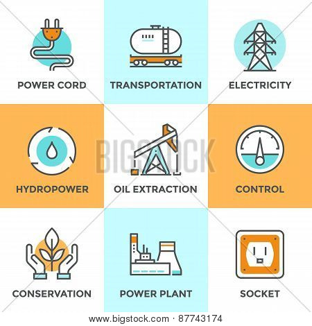 Power Industry Line Icons Set