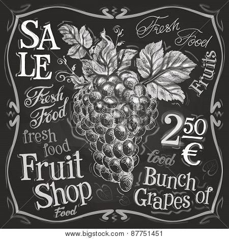 grapes vector logo design template. fresh fruit, food or menu board icon.