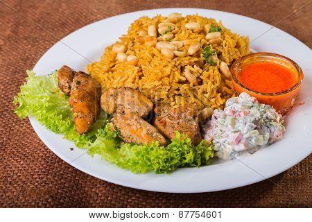Eastern food. Arab food. Pilaf with meat