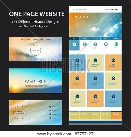 One Page Website Template and Different Header Designs with Blurred Backgrounds - Clouds