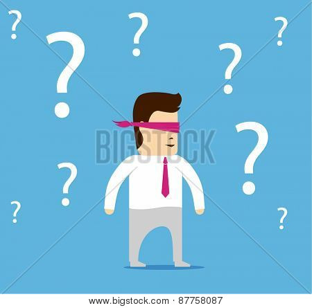 Cartoon character businessman blindfolded confused