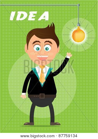 Smiling, happy, young, standing, businessman with light bulb, green background with pattern