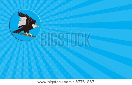 Business Card California Condor Perching Branch Circle Retro