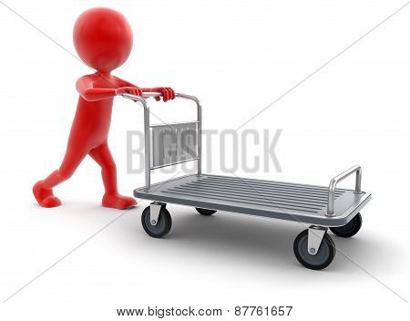 Man and Handtruck (clipping path included)