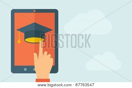 A hand is touching the screen of a tablet with graduation cap icon. A contemporary style with pastel palette, light blue cloudy sky background. Vector flat design illustration. Horizontal layout with
