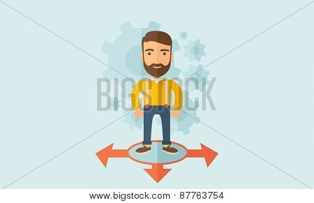 A young and good looking man standing in circle with 3 arrows on the ground, metaphor to starting or beginning to go straight, right or left. New Beginning cocept. A Contemporary style with pastel poster
