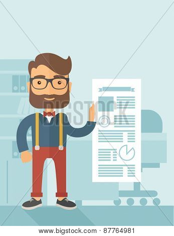 A Caucasian man happy standing inside his office  showing his complete paper works report on time. Achievemnet concept. A contemporary style with pastel palette, soft blue tinted background. Vector poster