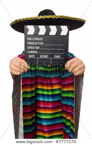 Handsome man in vivid poncho holding clapperboard isolated on white poster