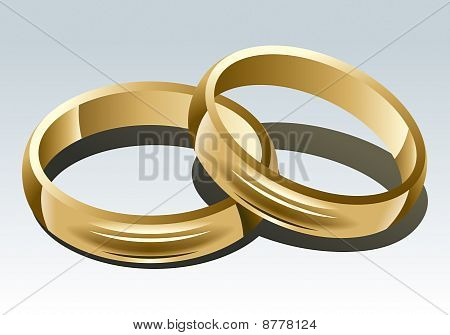 Wedding Ring On White Background. Vector Illustration.