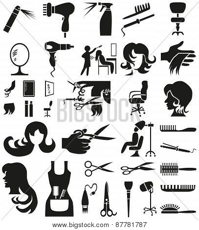 Hairdresser Icons On White