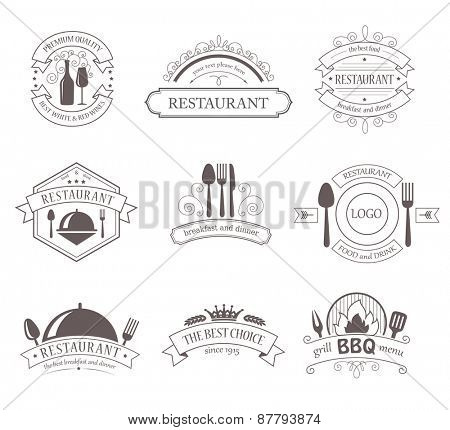 Set of Vintage Decorations Labels.  Retro Style Design Frames for Restaurant, Barbecue, Food, Drink.
