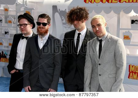 LOS ANGELES - FEB 11:  Patrick Stump, Andy Hurley, Joe Trohman, Pete Wentz, Fall Out Boy at the MTV Movie Awards 2015 at the Nokia Theater on April 11, 2015 in Los Angeles, CA