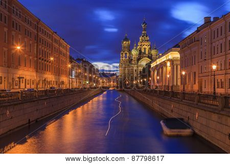 Church on Spilled Blood in Saint Petersburg Russia. poster