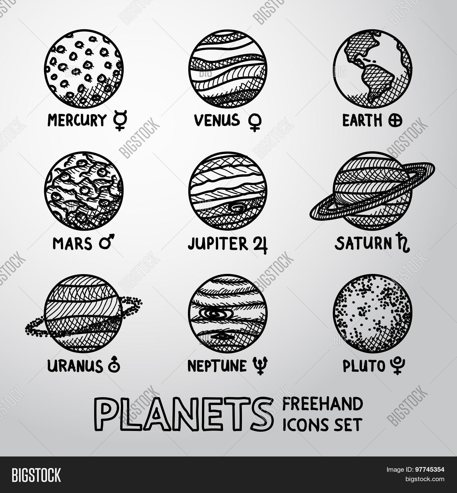 Set hand drawn planet icons names vector photo bigstock set of hand drawn planet icons with names and astronomical symbols mercury venus biocorpaavc Choice Image
