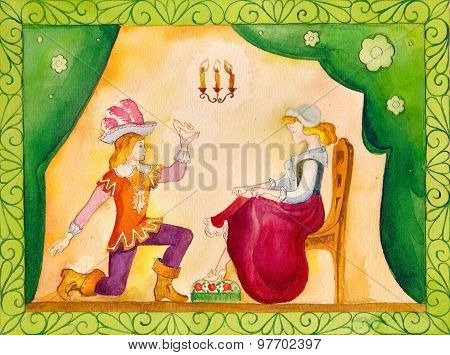 Illustration for the fairy tale, watercolor. Performed in Russian style