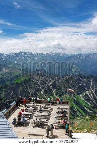 View over the viewing platform at the Nebelhorn