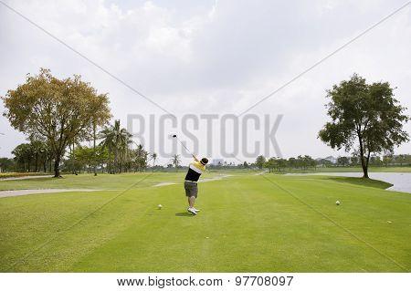 Golfer Ready T-off With Wood Golf