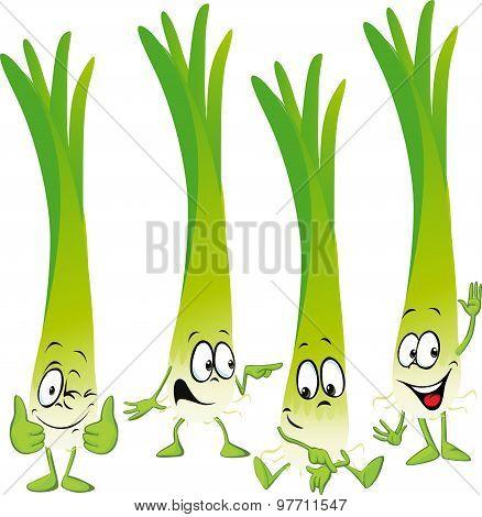 Leek Or Green Onion- Funny Vector Cartoon