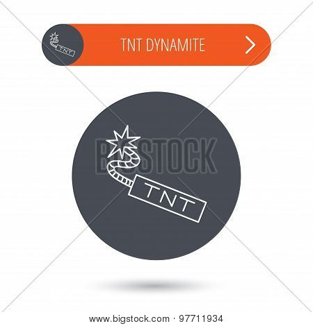 TNT dynamite icon. Bomb explosion sign. Gray flat circle button. Orange button with arrow. Vector poster