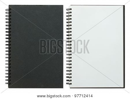 Black And White Spiral Notebook Isolated On White With Clipping Path