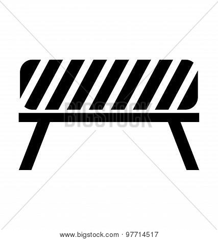 Black, White And Striped Road Barrier,barricade, Road Block Vector Isolated