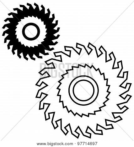 Circular saw blade on a white background. poster