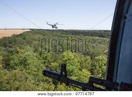 Ukrainian Army Helicopter Patrols Area Of Antiterrorist Operation