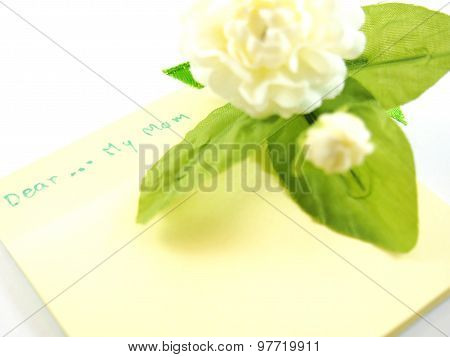 Dear My Mom On Empty Note Paper, Card With Blurred Handmade White Jasmin Flower