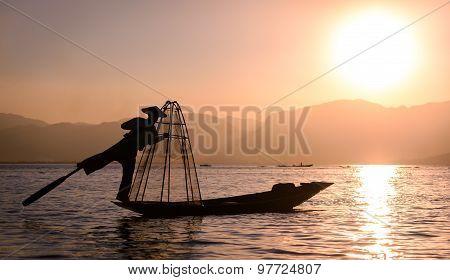 Silhoueete Of A Fisherman On Inle Lake, Myanmar