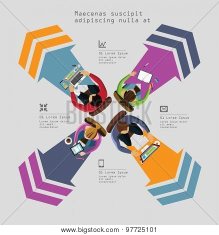Infographics Element -  Top View on Chart with People. Vector illustration.