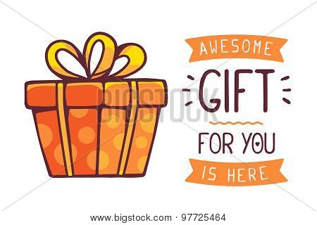 Vector Illustration Of Great Red Gift Box With Title Awesome Gift For You Is Here On White Backgroun