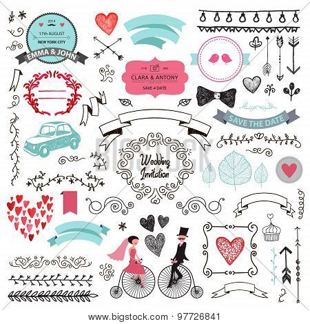 vector set of vintage hand drawn wedding design elements, ribbons,  invitation, decorative elements.