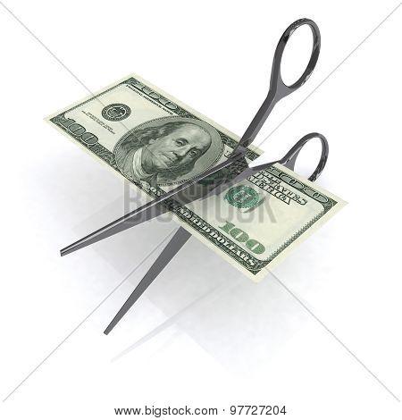 Scissors Cutting Dollar 3D Illustration