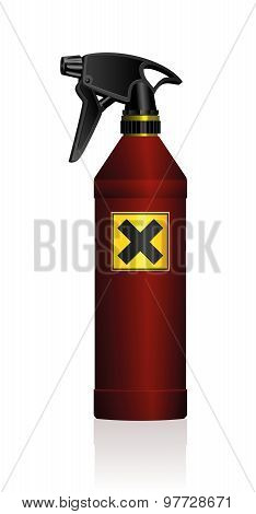 Poison spray bottle for plant toxins, insecticides, pesticides, biocides etc - with a black x on a yellow square as a hazard warning sign for harmfulness or irritants. Isolated vector illustration on white background. poster