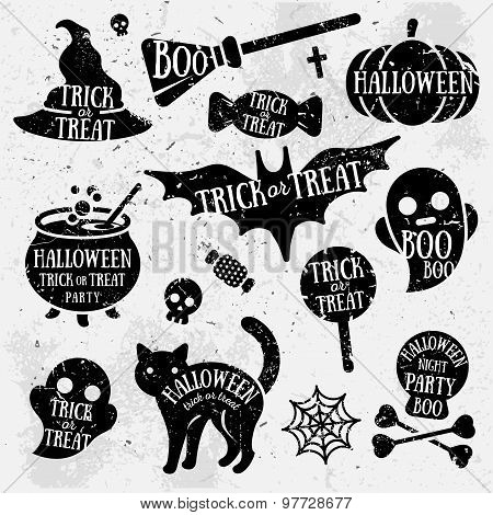 Set of Halloween Characters with Text Inside.