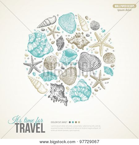 Summer Sea Shells Concept. Vector Background