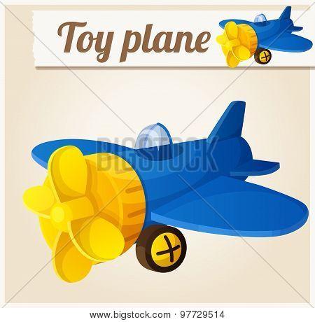 Toy plane. Cartoon vector illustration. Series of children's toys