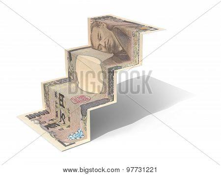 10000 Yen Banknote Folded As Steps