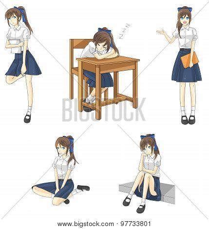 Cute Cartoon Asian Thai Schoolgirl Student In Government High School Uniform In Different Action, Ex