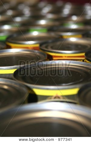 food cans for charity close up shot poster