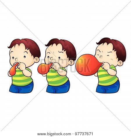 Boy Blow Up Balloon