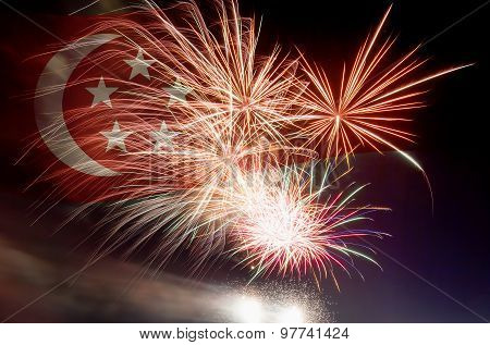 Singapore Flag With Fireworks